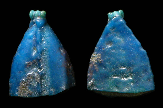 blue faience amulet of a leaf top half only the bottom missing bright blue color with small blue green faience suspension loopbead at top - Faience Colore