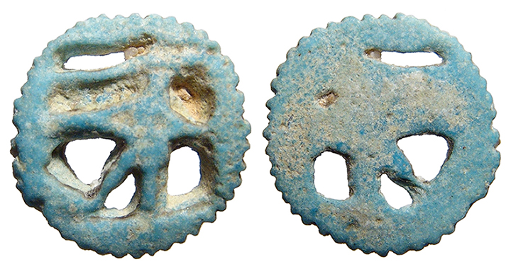 ancient egypt third intermediate to late period 1185 525 bc nice faience eye of horus amulet surrounded by a round ridged border light blue color - Faience Colore