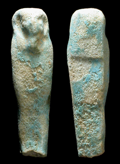 small egyptian faience ushabti crudely made but in perfect condition with vibrant blue color 36 mm 1 38 ex j rilling private collection - Faience Colore