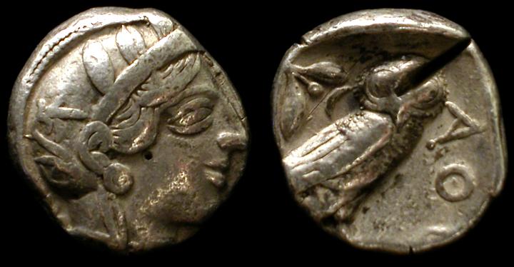Las minas para la fabricación de monedas. Athens_tetradrachm5499b