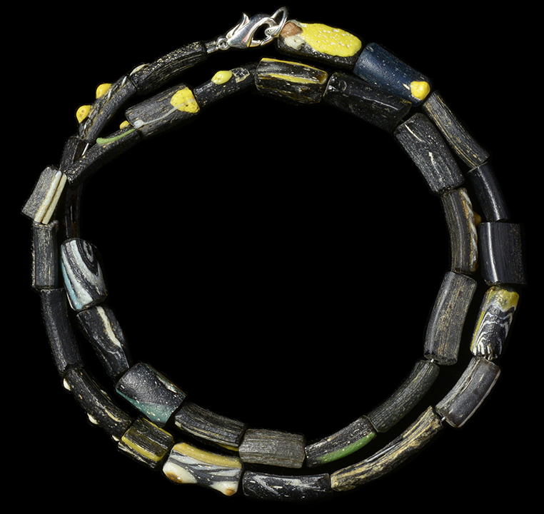 Ancient resource ancient roman and greek glass gold and stone mosaic glass bead necklace large black blue and swirled black and white glass beads some with fine raised white orange blue yellow and red mosaic aloadofball Gallery