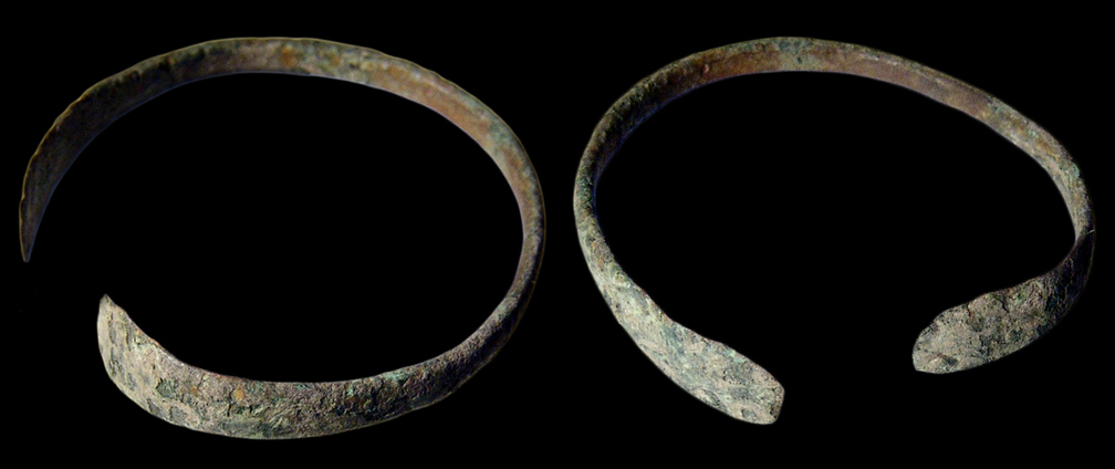 Ancient roman bracelets side by side, copper, corroded, antique
