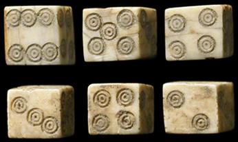 Ancient roman gambling dice playing blackjack in a casino