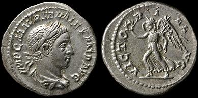 Genuine ancient billon coin denarius Roman Empire Julia Soaemias 220 Venus Cupid