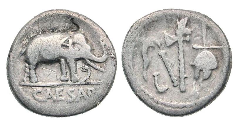 Ancient resource roman coins of julius caesar for sale julius caesar 100 44 bc silver denarius struck april august 49 bc elephant advancing right trampling on horned serpent caesar in exergue emblems of freerunsca Images